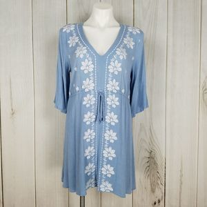 Gibson Latimer | Blue Crinkle Embroidered Dress